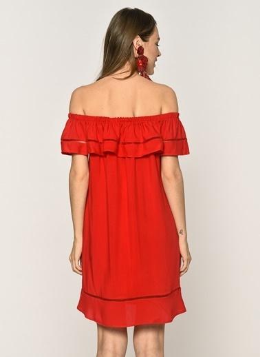 Loves You Carmen Yaka Şerit Nakışlı %100 Viskon Elbise Kırmızı